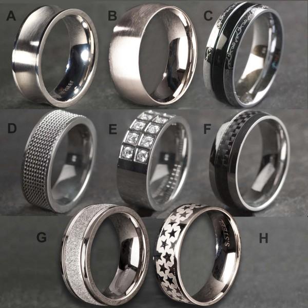 Edelstahl Ring Fingerring Damen Ring Herren Ring Band Ring silber Zirkonia EXR26