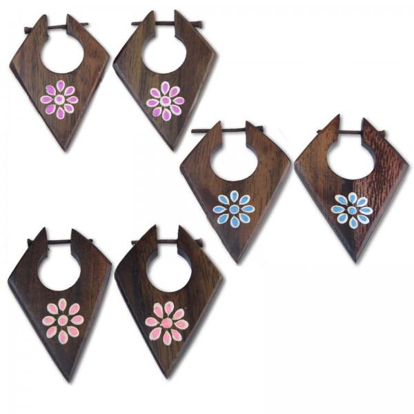 1 Paar Holz Ohrringe Blüten Blumen Naturschmuck Rauten Holz Creolen CE44