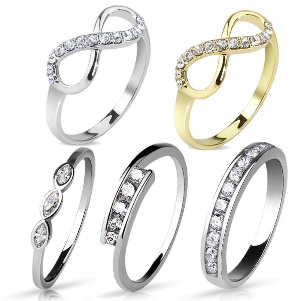 Damen Ring Fingerring Verlobungsring rhodiniert oder vergoldet RS59
