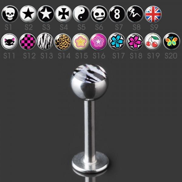 1,2mm Motiv Labret Lippen Piercing Stecker Logo Kugel Tragus Helix Ohr Z379