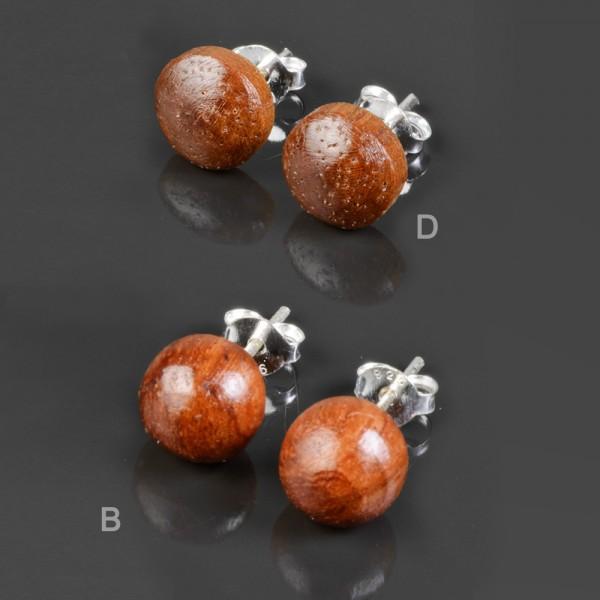 1 Paar Ohrstecker Holz Kugel Perle Holz Ohrringe Stecker Edelstahl Silber WS5