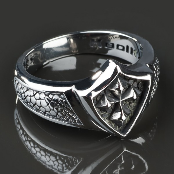 KoolKatana Edelstahl Ring Kreuz Siegel Ring Gothic Fingerring Biker silber RS26