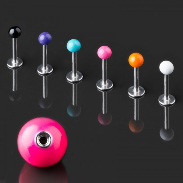 Labret Lippen Piercing Stecker Emaille Kugel emailliert Tragus Helix Ohr Z370