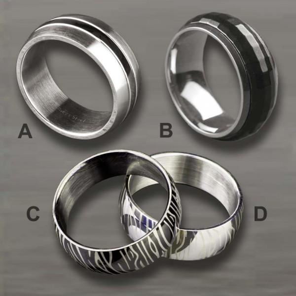 Edelstahl Ring Fingerring Damenring Herrenring silber matt schwarz Zebra RS14