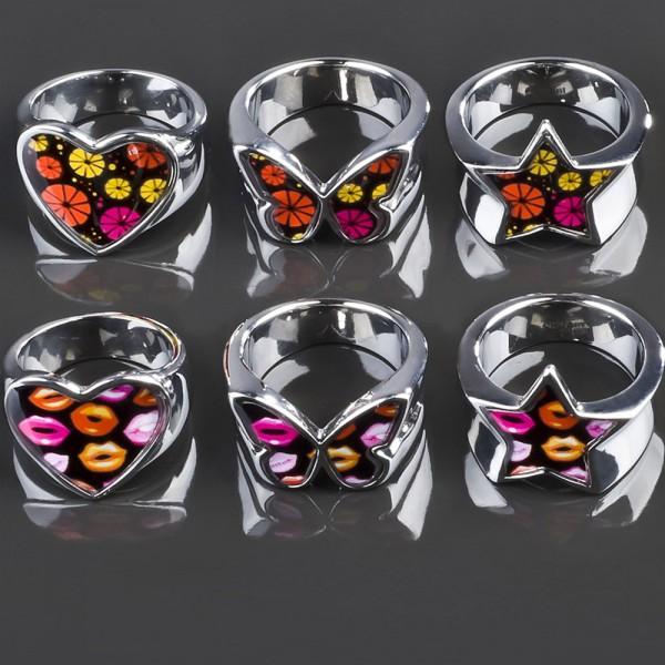 Edelstahl Ring Rockabilly Blüten Herz Stern Pink Orange Schwarz silber Lips RS46