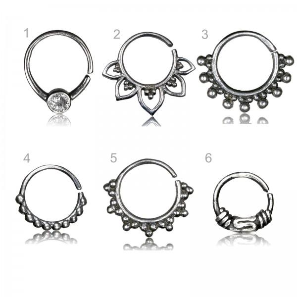 Ohr Piercing Ring Nasen Ring Silber Septum Vintage Antik Tragus Helix Bali Z521