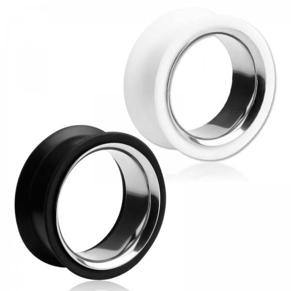 22-40mm SILIKON STAHL XXL Flesh Tunnel Plug Ohr Piercing Z464