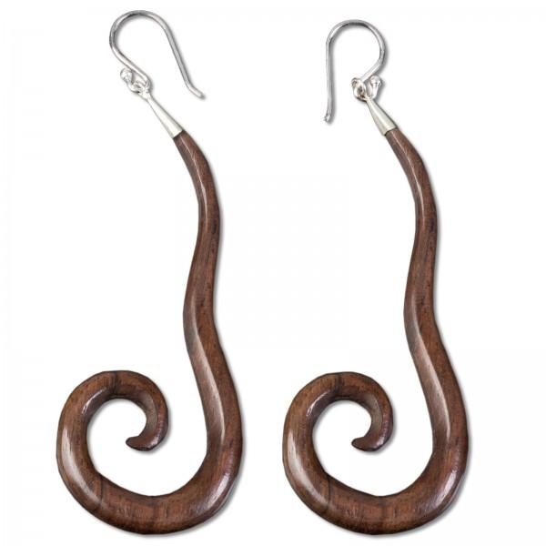 1 Paar Holz Ohrringe Ohr Hänger Spirale Naturschmuck Sprialen Ohrhänger CE34