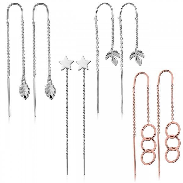 Damen Ohrringe Durchzieher Ketten Ohrhänger Kette echt 925 Sterling Silber Z542