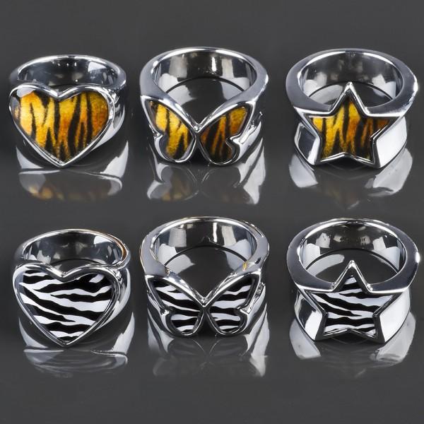 Edelstahl Ring Herz Stern Schmetterling Tiger Zebra Rockabilly silber RS47