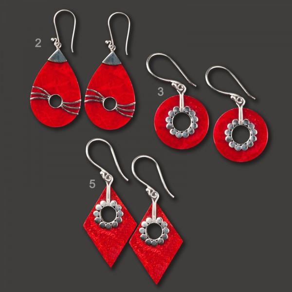 Ohrringe 925 Silber und Koralle rot handgefertigt Ohr Hänger WS40