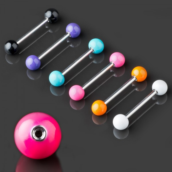 Zungen Piercing Barbell Emaille Kugeln emailliert Hantel Brust Piercing Z374