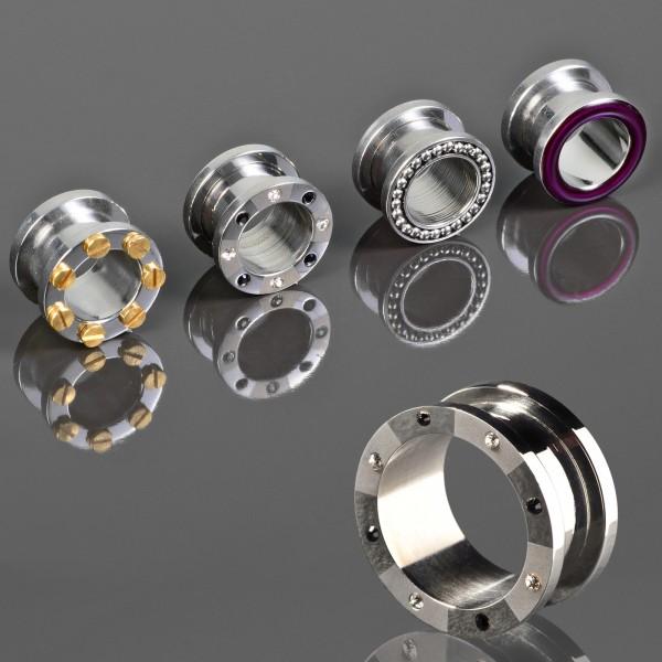 3-16mm Flesh Tunnel Plug Silber Schraubtunnel Stahl Ohr Piercing Z116