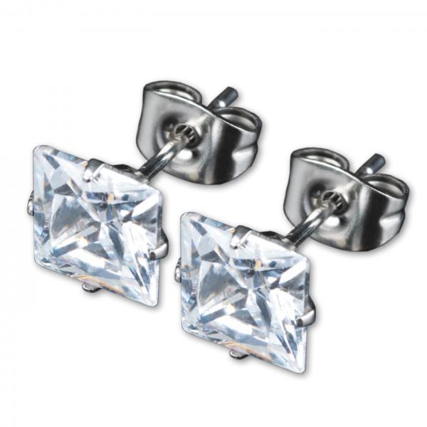1 Paar Ohr Stecker Zirkonia Kristall Quadtrat Ohrringe Edelstahl WS15