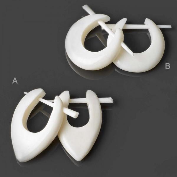 1 Paar Ohrringe Creolen Bone Knochen Naturschmuck Ohr Piercing Holz Horn W9