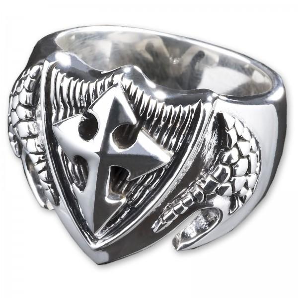 925 Silber Ring Kreuz Siegel Ring Tempelritter Freimaurer Biker SR33