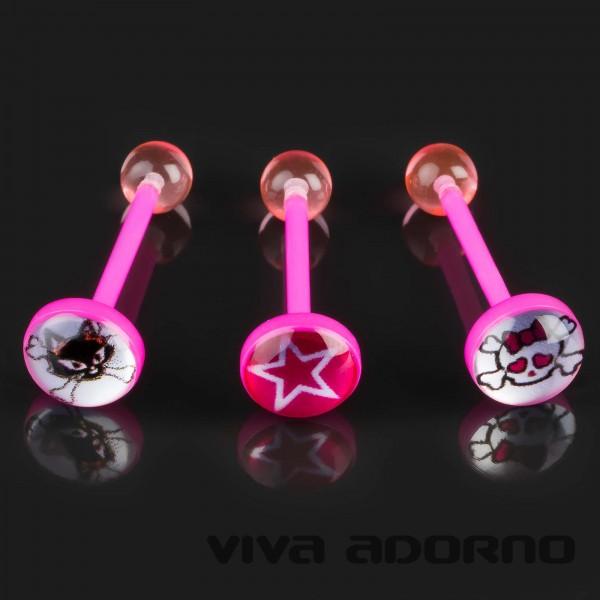 1,6 x 16 mm Motiv Zungen Piercing Bioflex Barbell Hantel pink Acryl Logo Z385