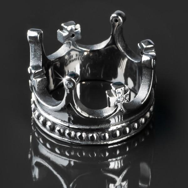 Edelstahl Ring Krone Zirkonia Rockabilly Gothic Kristall Fingerring silber RS23
