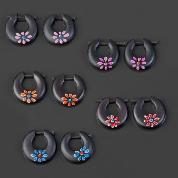 1 Paar Holz Ohrringe Blümchen Holz Creolen Blumen Blüten Naturschmuck CE14