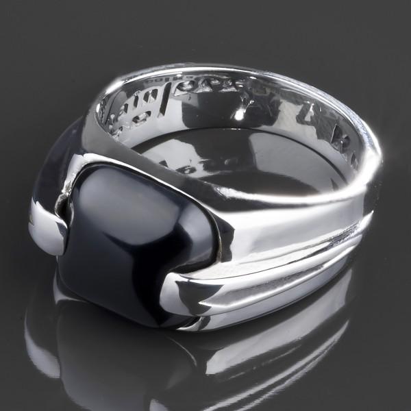 KoolKatana Edelstahl Ring Onyx Gothic Fingerring Biker schwarz Daumenring RS44