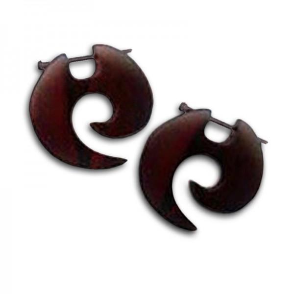 Holzohrringe Ohrringe geschnitzt Naturschmuck Creolen WE19