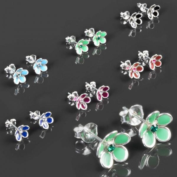 Ohr Stecker Blumen 925 Silber Kinder Mädchen Ohrringe Zirkonia Blüten Z474