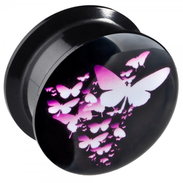 6-20mm Ohr Plug Flesh Tunnel SchmetterlingE Pink Acryl Butterfly Z161
