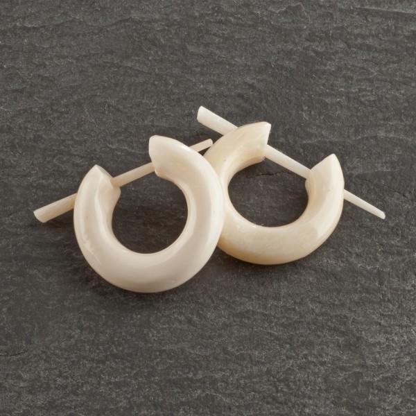 Ohrringe Creolen Horn Bone Knochen Naturschmuck Ohr Piercing Kreolen Holz W8