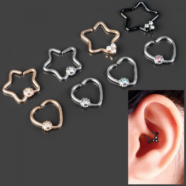 Fake Piercing Tragus Ohr Daith Helix Cartilage Knorpel Klemm Clip Kristall Z490