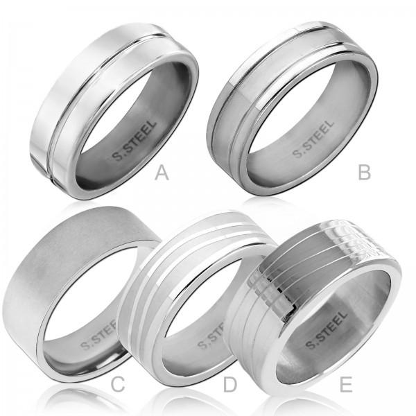 Damen Herren Ring Daumenring Fingerring Edelstahl Ring matt mattiert silber RS61