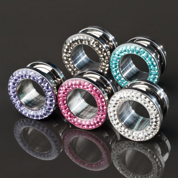 Flesh Tunnel Plug Zirkonia Strass Bling Stahl 4-14mm Kristall Z117
