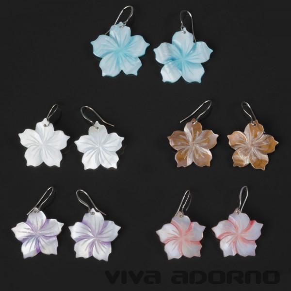 Ohrringe Hänger Perlmutt Hawaii Blumen Hibiskus Blüten Muschel Ohrhänger SH54