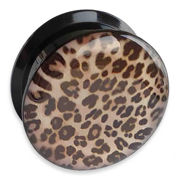 4-24mm Ohr Plug Leopard Innengewinde Flesh Tunnel Leo Animal Print Piercing Z554