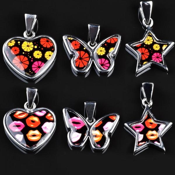 Edelstahl Anhänger Rockabilly Herz Stern Blüten Lips Pink Orange silber AG24