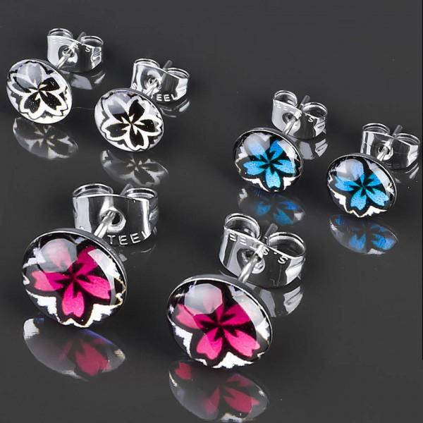 1 Paar Ohr Stecker Hibiskus Blüten Blumen Edelstahl Ohrringe Rockabilly Z209