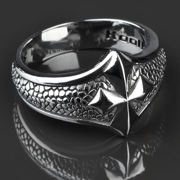 KoolKatana Edelstahl Ring Kreuz Drachen Haut Gothic Fingerring Biker silber RS25