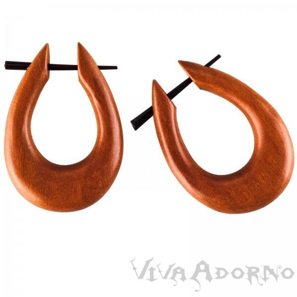 1 Paar Holz Ohrringe Sawo Holz Creolen Naturschmuck Horn Pin CC440