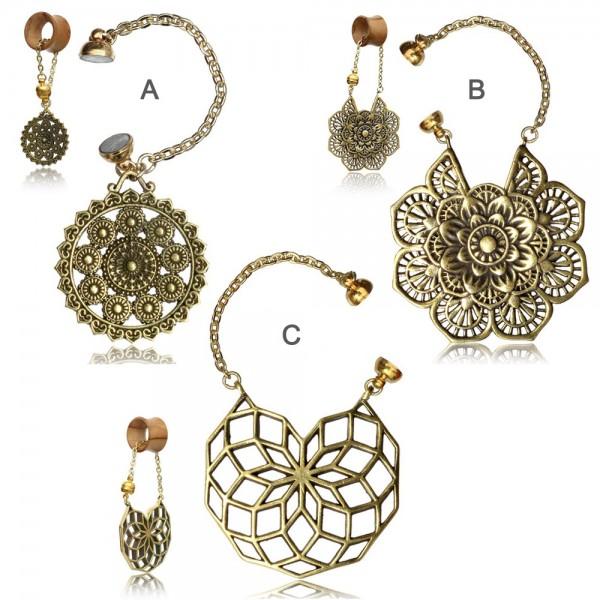 Anhänger für Flesh Tunnel Ohr Piercing Ohrring Messing Gold Charm Ethno Goa Z538