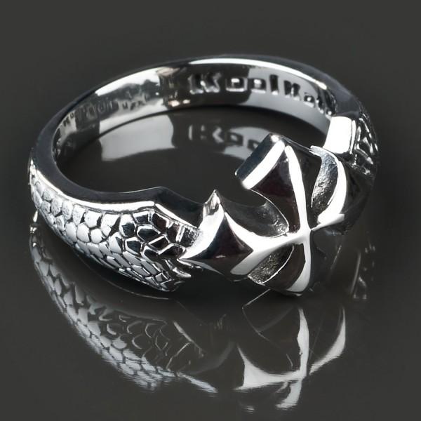 KoolKatana Edelstahl Ring Kreuz Drachen Haut Gothic Fingerring Biker silber RS28
