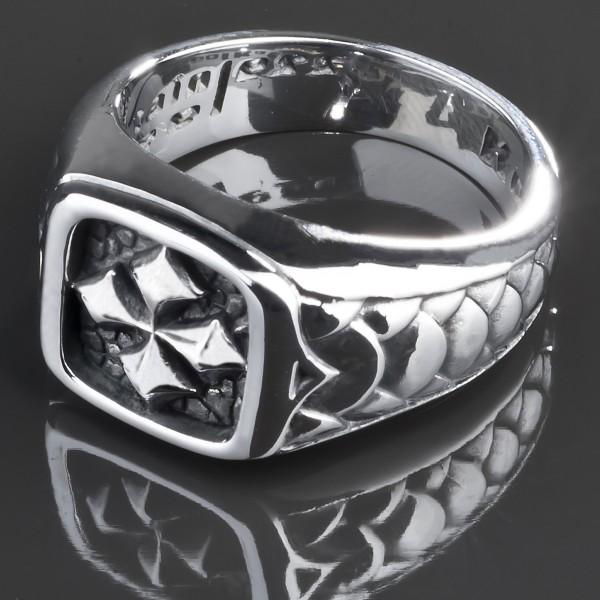 KoolKatana Edelstahl Ring Kreuz Siegel Ring Gothic Fingerring Biker silber RS34
