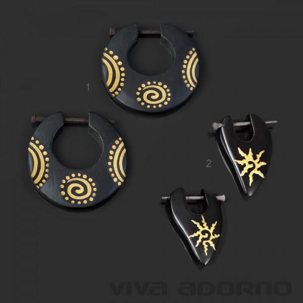1 Paar Holz Ohrringe Holz Creolen Ohr Piercing Ohr Piercing schwarz gold CE497