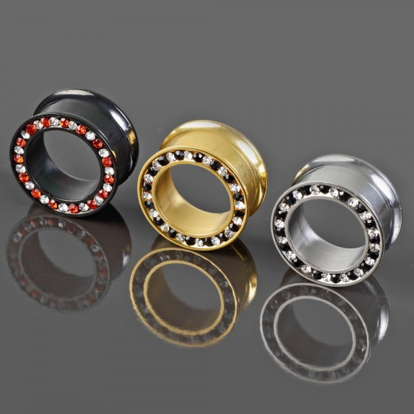 6-18mm Flesh Tunnel Plug Zirkonia Innengewinde double flared Kristall rot Z448
