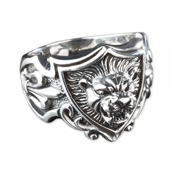 925 Silber Siegel Ring Löwe 3D Wappen Lilien Daumenring Biker Lion SR21