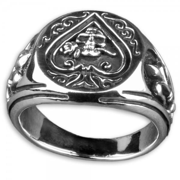 Siegel Ring Pik Totenkopf Rose 925 Silber Ring Daumenring Lilien Poker SR17