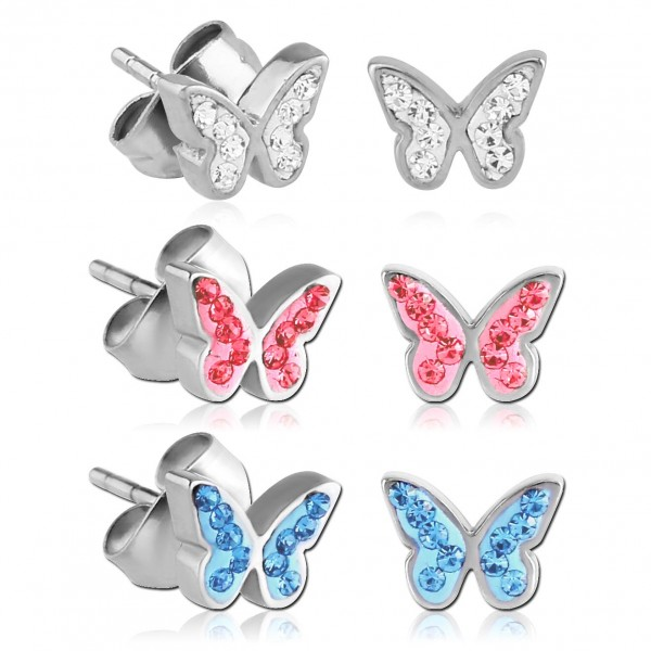Ohrstecker Schmetterlinge Zirkonia Strass Rockabilly Edelstahl Ohrringe Z220