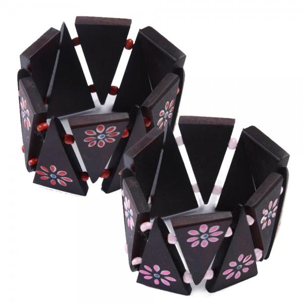 Holz Armband Blumen Blüten Holz Armreifen Braun Armreif Beads CBS9