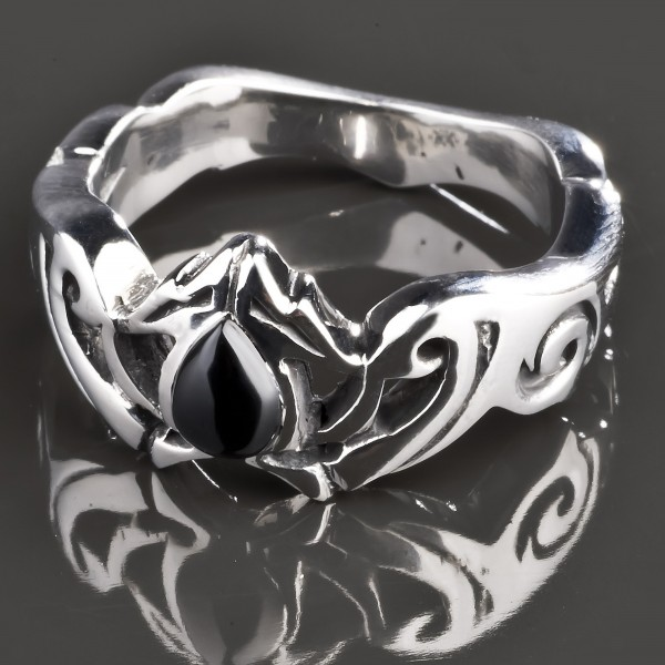 KoolKatana Edelstahl Ring Onyx Tribal Rockabilly Fingerring silber Gothic RS43