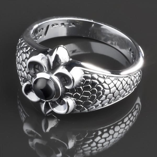 KoolKatana Edelstahl Ring Onyx Lilien Gothic Fingerring Biker schwarz RS36