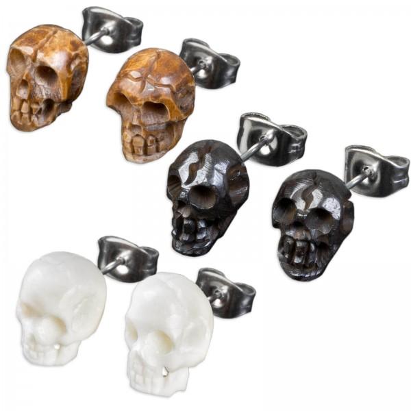 1 Paar Ohr Stecker Totenkopf geschnitzt Bone Horn Skull Edelstahl Ohrringe Z437