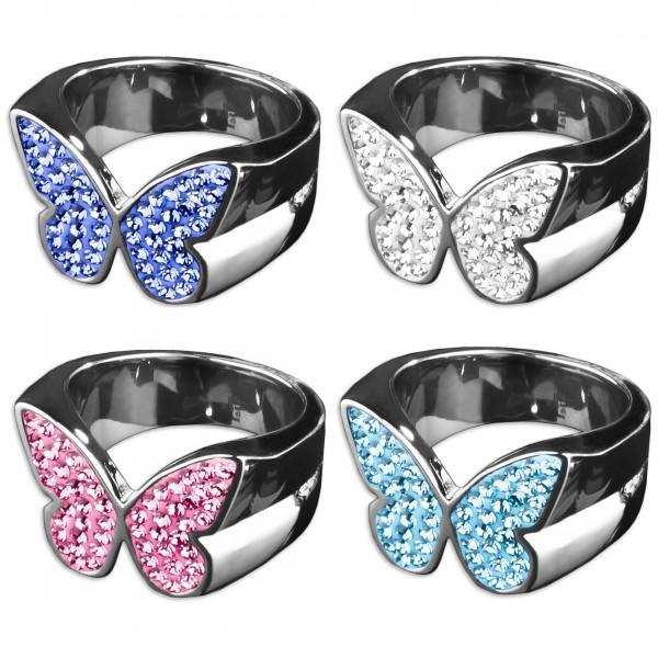Edelstahl Ring Schmetterling Zirkonia Strass Rockabilly Fingerring RS31